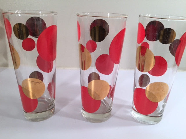 Russel Wright Mid-Century Bright Red & 22-Karat Gold Eclipse Tall Collins Glasses (Set of 6)