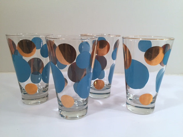 Russel Wright Mid-Century Bright Blue & 22-Karat Gold Eclipse Tumbler Glasses (Set of 4)