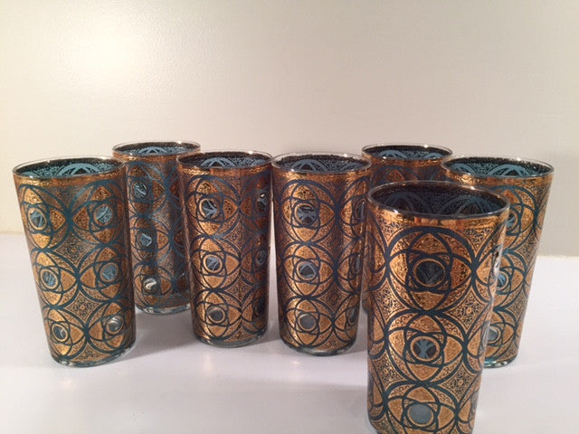 Culver - Mid-Century Terrazzo 22-Karat Gold Glasses (Set of 7)