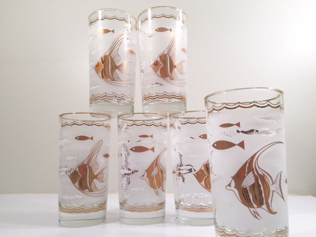 Hazel Atlas - Mid-Century White & 22-Karat Gold Angel Fish & Seahorse Glasses (Set of 6)