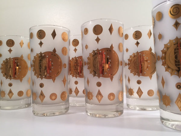 Fred Press - Signed Mid-Century Frosted White & 22-Karat Gold Atomic Starburst Glasses (Set of 6)