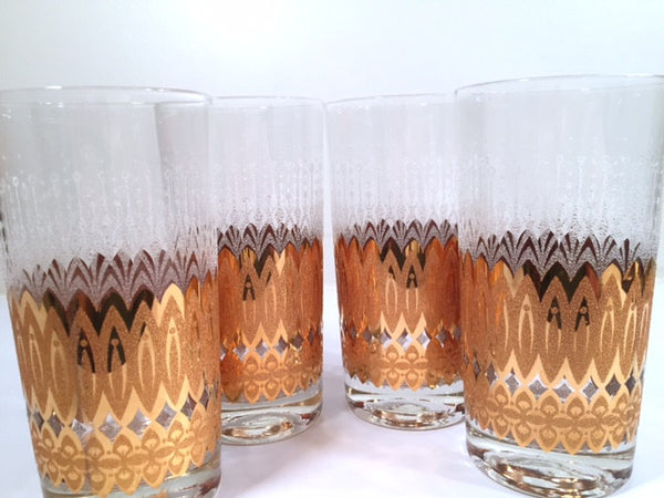 Pasinski Signed Mid-Century 22-Karat Gold and Filigree Highball Glasses (Set of 4)