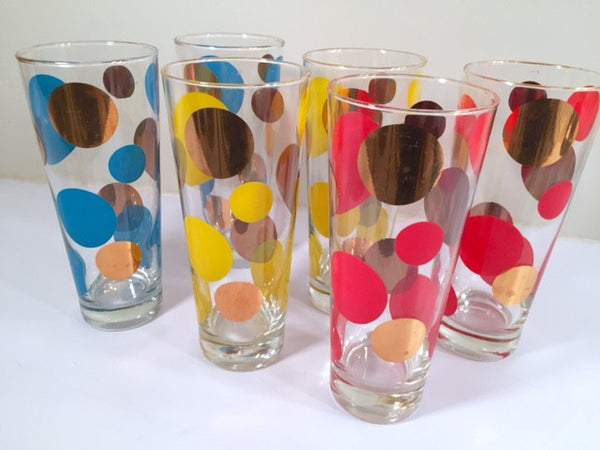 Russel Wright Mid-Century Bright Blue, Red, Yellow & 22-Karat Gold Eclipse Tall Collins Glasses (Set of 6)
