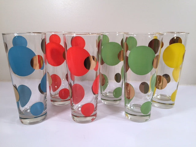 Russel Wright Mid-Century Bright Blue, Red, Yellow, Green & 22-Karat Gold Eclipse Tall Collins Glasses (Set of 6)