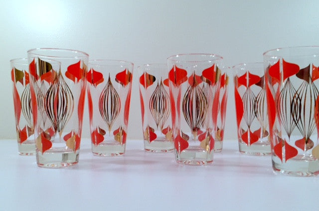Anchor Hocking Mid-Century Retro Orange and 22-Karat Gold Atomic Abstract Glasses (Set of 8)