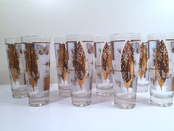Fred Press - Mid-Century Frosted 22-Karat Gold Butterfly Tall Collins Glasses (Set 8)