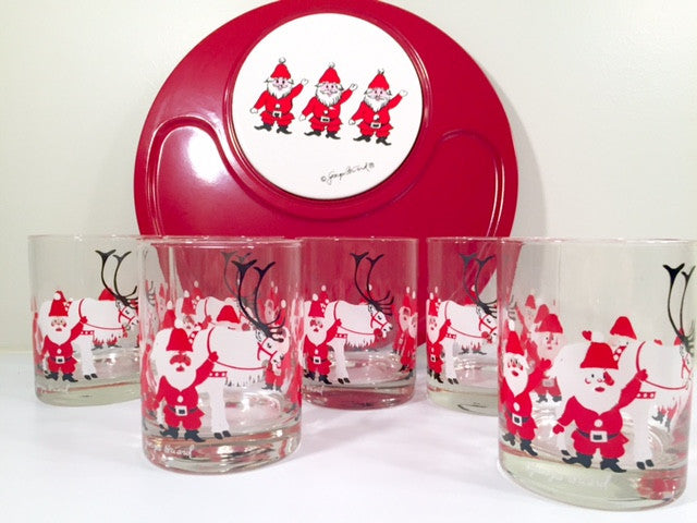 Georges Briard - Signed Mid-Century Elf and Reindeer 7-Piece Set (6 Highball Glasses and Appetizer Tray)
