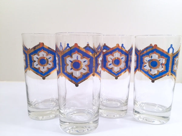 Libbey - Mid-Century Blue and 22-Karat Gold Star/Snowflake Glasses (Set of 4)