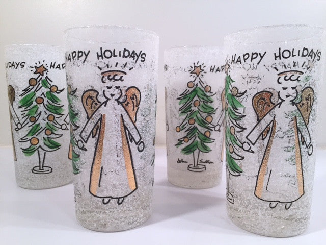 John Sutton - Signed Mid-Century Angel and Christmas Tree Flocked Glasses (Set of 4)