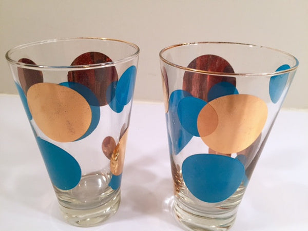 Russel Wright Mid-Century Bright Blue & 22-Karat Gold Eclipse Tumbler Glasses (Set of 2)
