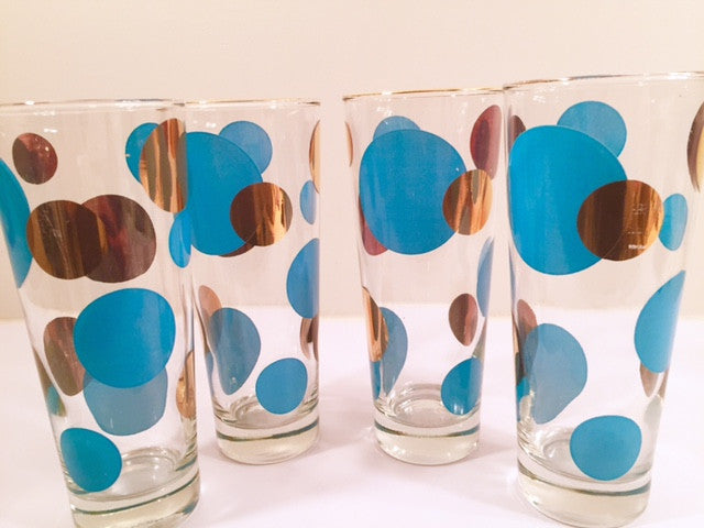 Russel Wright Mid-Century Bright Blue & 22-Karat Gold Eclipse Tall Collins Glasses (Set of 4)
