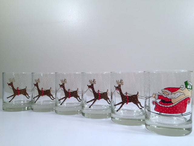 Cera Signed Vintage Santa Sleigh Ride Double Old Fashion Glasses (Set of 6)