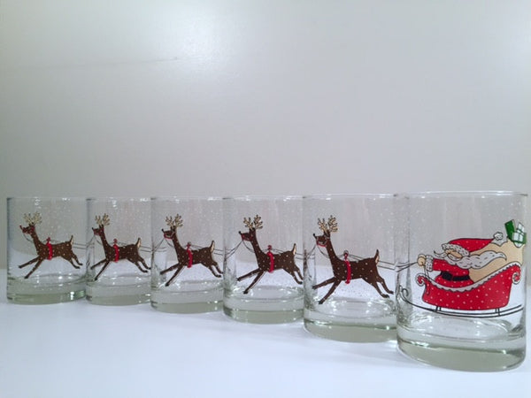 Cera Signed Vintage Santa Sleigh Ride Highball Glasses (Set of 6)