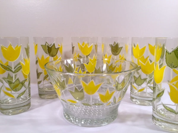 Culver Signed Mid-Century Yellow and Green Tulip Set (6 Glasses and Ice Container)
