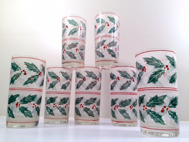 Culver - Signed Mid Century - Frosted Holly and Berry Tumbler Glasses (Set of 7)
