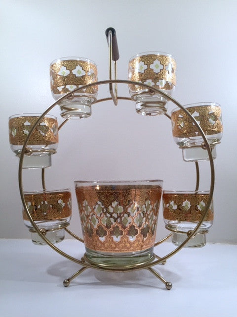 Culver - Signed Valencia Mid-Century Green & 22-Karat Gold Ferris Wheel Drink Set