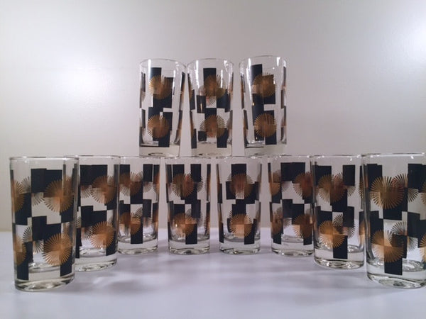 Anchor Hocking - Mid-Century Black Square with 22-Karat Gold Atomic Burst Glasses (Set of 11)