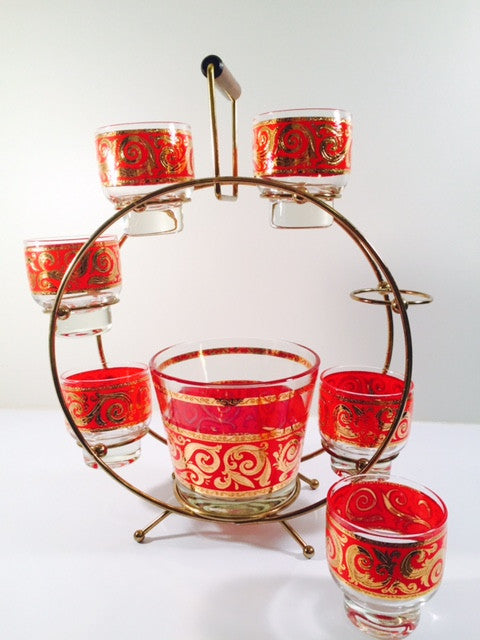 Culver - Mid-Century 22-Karat Gold & Red Paisley Ferris Wheel Drink Set (6 glasses, Ice Container, Carrier)