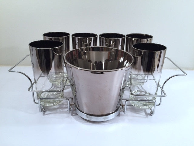 Vitreon Queens Luster - Mid-Century Bar Set with Carrier (6 Glasses, Ice Container and Carrier)