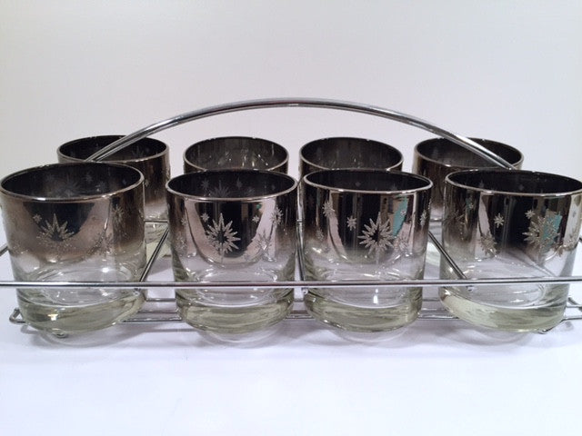 Vitreon Queens Luster - Mid-Century Atomic Bar Set with Carrier (8 Low-Ball Glasses, Carrier & Original Box)