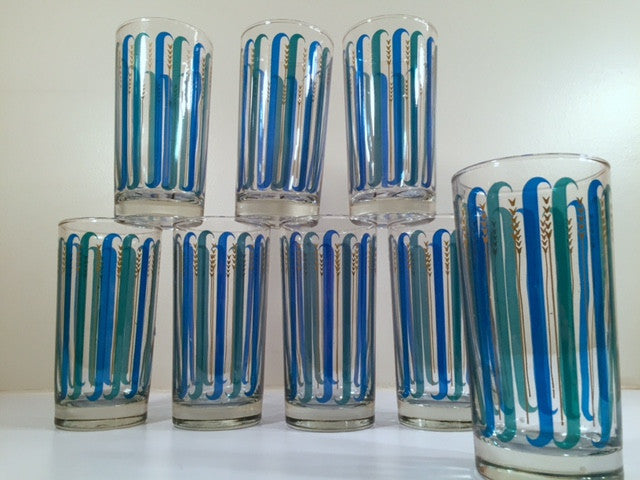 Libbey - Mid-Century Blue and Green Stripe Glasses (Set of 8 Glasses with Original Box and Care Instructions)