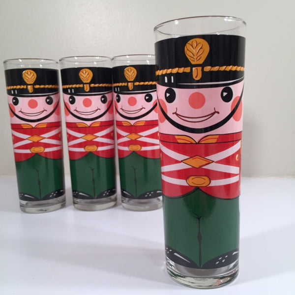 Georges Briard-Signed Mid-Century Soldiers Tall Collins Glasses (Set of 4)