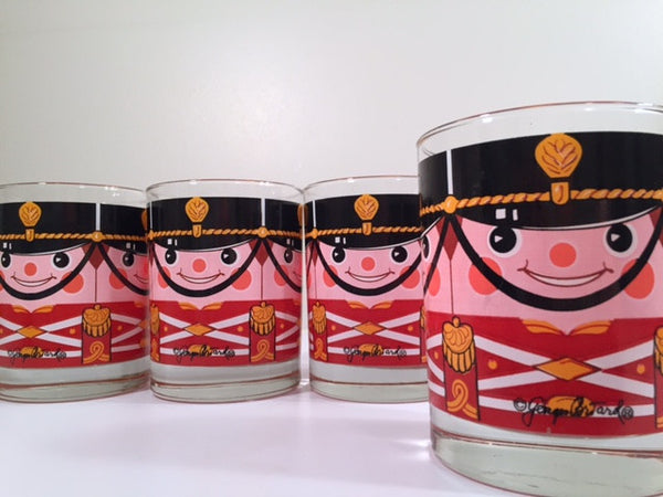 Georges Briard-Signed Mid-Century Soldiers Lowball Glasses (Set of 4)