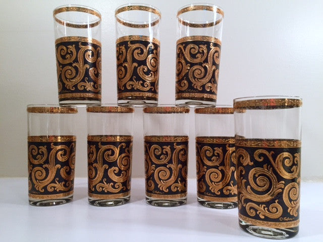 Culver - Signed Mid-Century 22-Karat Gold Baroque Scroll Highball Glasses (Set of 8)