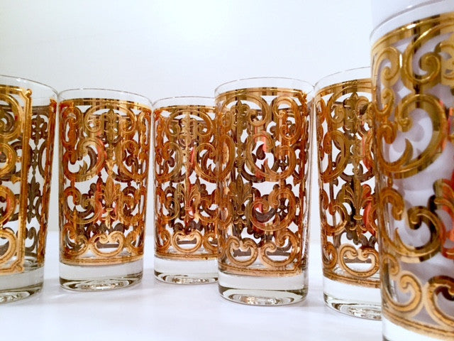 Georges Briard - Signed Mid-Century 22-Karat Gold Fleur-De-Lis Highball Glasses (Set of 6)