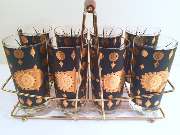 Fred Press - Signed Mid-Century Celestial/Atomic Burst 22-Karat Gold & Black Glasses (Set of 8 with Carrier)