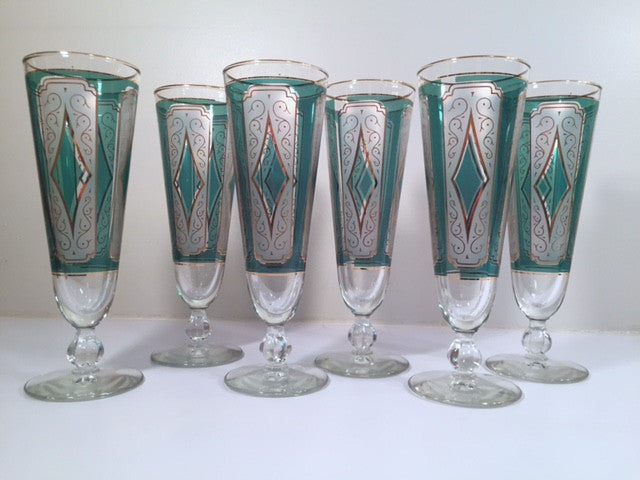Libbey Mid-Century Emerald Champagne/ Pilsner Glasses (Set of 6)