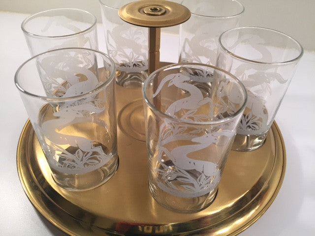 Federal Glass Mid-Century Art Deco Gazelle Bar Set (6 Glasses and Carrier)