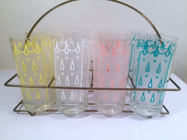 Fred Press - Signed Mid-Century Raindrop Bar Set (8 glasses and Carrier)