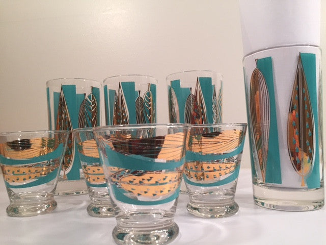 Fred Press Signed Mid-Century 22-Karat Gold & Blue Leaf Tall and Whiskey Glasses (Set of 4 tall glasses & 4 whiskey glasses)