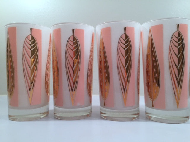 Fred Press - Signed Mid-Century 22-Karat Gold Frosted Pink Leaf Glasses (Set of 4)