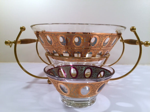 Culver Mid-Century 22-Karat Gold & Green Pisa Bowls and Carrier (Set of 2 Bowls with Carrier)