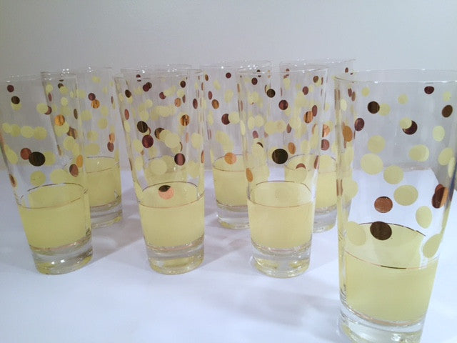 Fred Press Signed Mid-Century Yellow and 22-Karat Gold Polka Dot Tall Collins Glasses (Set of 7)