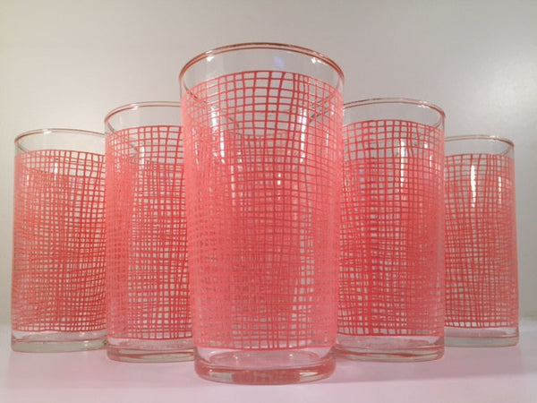 Federal Glass Mid-Century Pink Weave with 22-Karat Gold Rim Glasses (Set of 6)