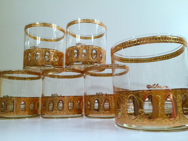Culver Signed Antigua Mid-Century 22-Karat Gold Rock Glasses (Set of 6)
