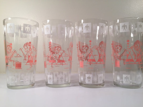 Hazel Atlas Mid-Century Indian Fantasy Boy Retro Glasses (Set of 4)