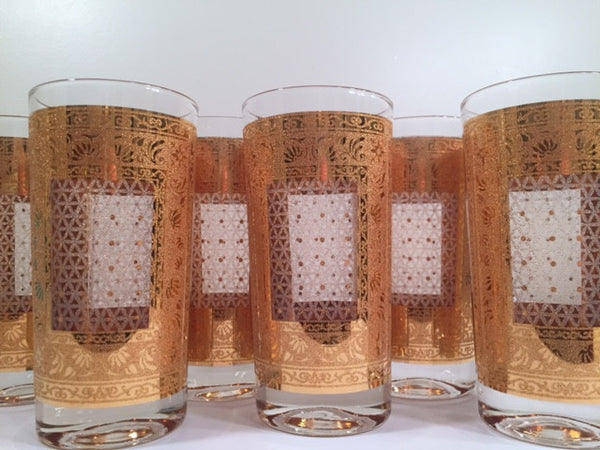 Pasinski Signed Mid-Century 22-Karat Gold Highball Glasses (Set of 6)