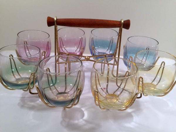 Federal Glass Mid-Century Somewhere Over the Rainbow Roly Poly Bar Set (8 Glasses with Carrier)