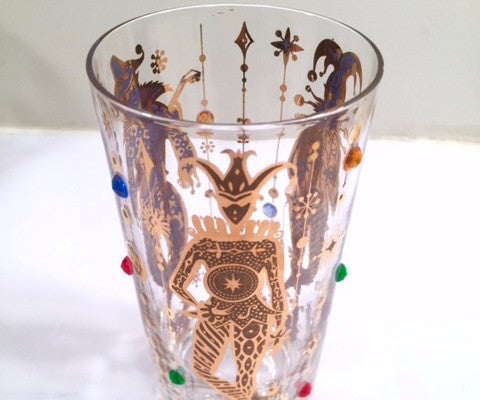 Culver Mid-Century Mardi Gras Jester With Jewels Highball Glass (1)