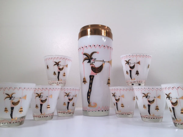 Gay Fad 1950s Court Jester Cocktail Shaker and 8 Single Old Fashioned Glasses Set