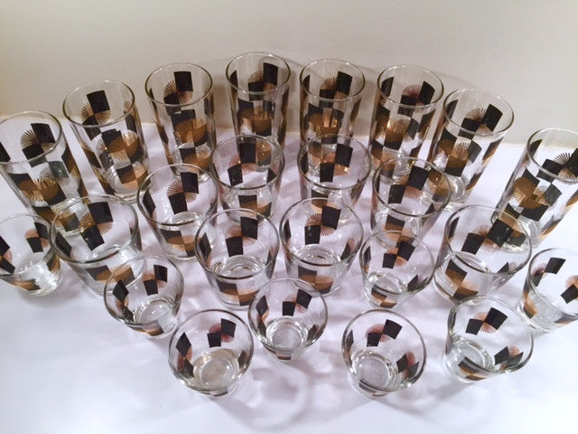 Anchor Hocking - Mid-Century Black Square with 22-Karat Gold Atomic Burst Bar Set  (Set of 24 Glasses)