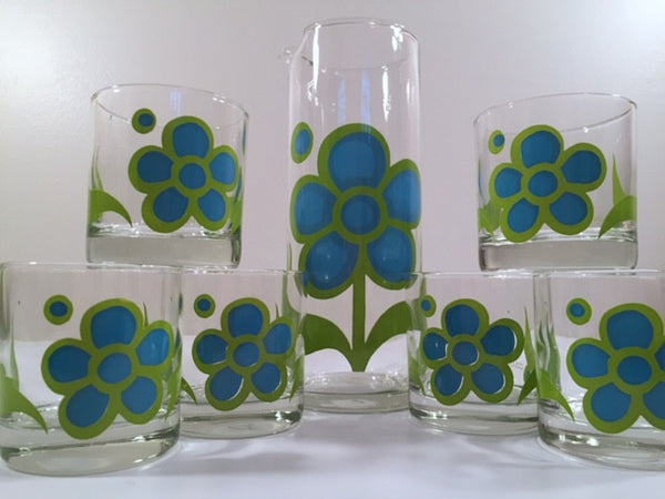 Colony Signed Mid-Century Garden Party Blue Peony 8-Piece Bar Set (1 pitcher, 1 stir, 6 glasses in original box)