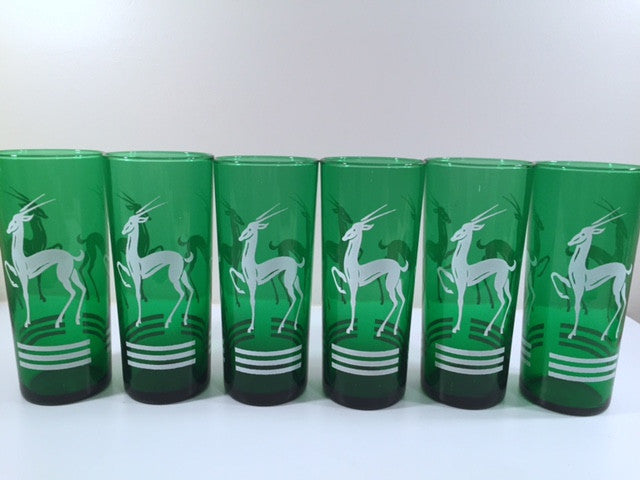 Anchor Hocking Green Gazelle Mid-Century Collins Glasses (Set of 6)