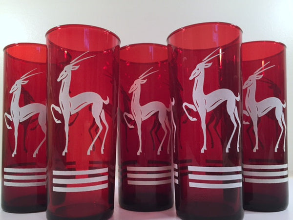 Anchor Hocking Red Gazelle Mid-Century Collins Glasses (Set of 5)