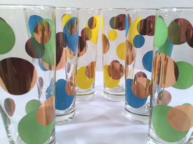 Russel Wright Mid-Century Bright Blue, Green, Yellow & 22-Karat Gold Eclipse Tall Collins Glasses (Set of 6)