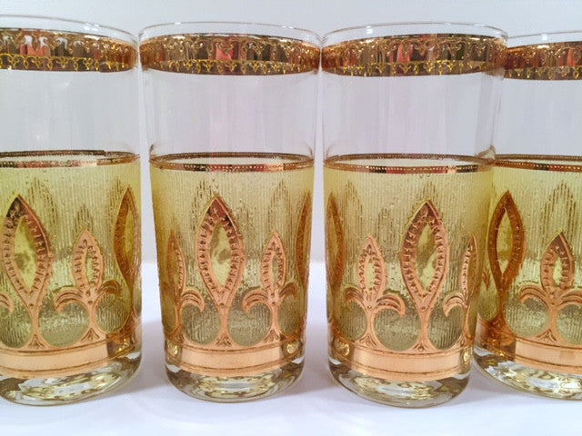 Culver - Signed Mid-Century Fleur De Lis Green & 22-Karat Gold Glasses (Set of 4)